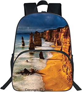 Oobon Kids Toddler School Waterproof 3D Cartoon Backpack, Twelve Apostles Australia Sunset Great Ocean Road Coast Cliff Washed by Sea Surf Picture, Fits 14 Inch Laptop