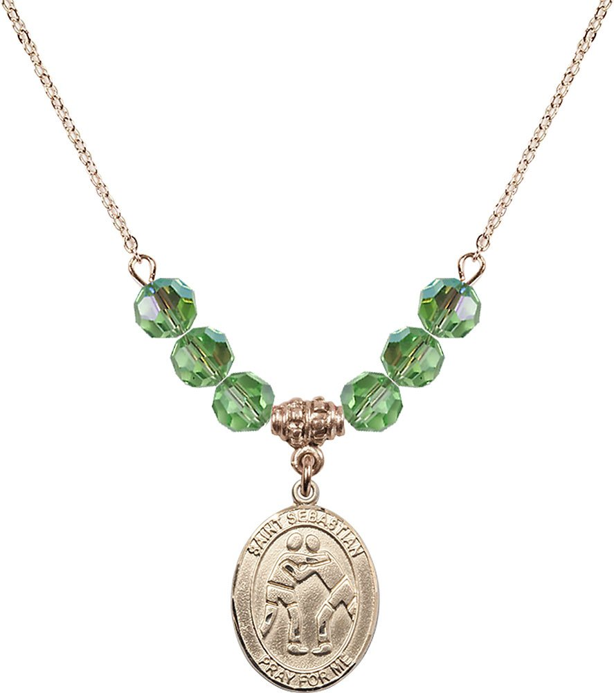 18-Inch Hamilton Gold Plated Necklace with 6mm Peridot Birthstone Beads and Gold Filled Saint Sebastian/Wrestling Charm. by F A Dumont
