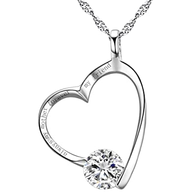 Sterling Silver I love my mom forever Heart Necklace Cubic Zirconia Engraved Pendant 18