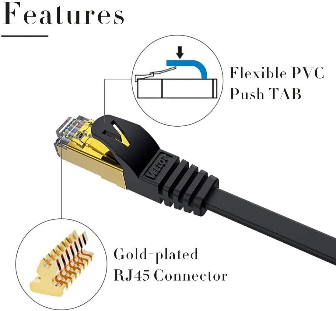 Veetop Cavo Ethernet Lan Di Rete Cat 7 RJ45 Piatto 1.5 metri, Nero Velocit/à 10 Gigabits//s