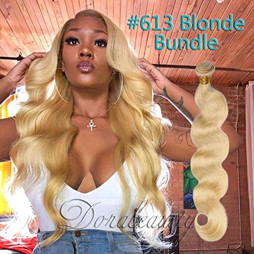 Dorabeauty Platinum Blonde Human Hair Bundles #613 Body Wave 100% Brazilian Remy Human Hair (24 inches Bundle) (Platinum Dora)