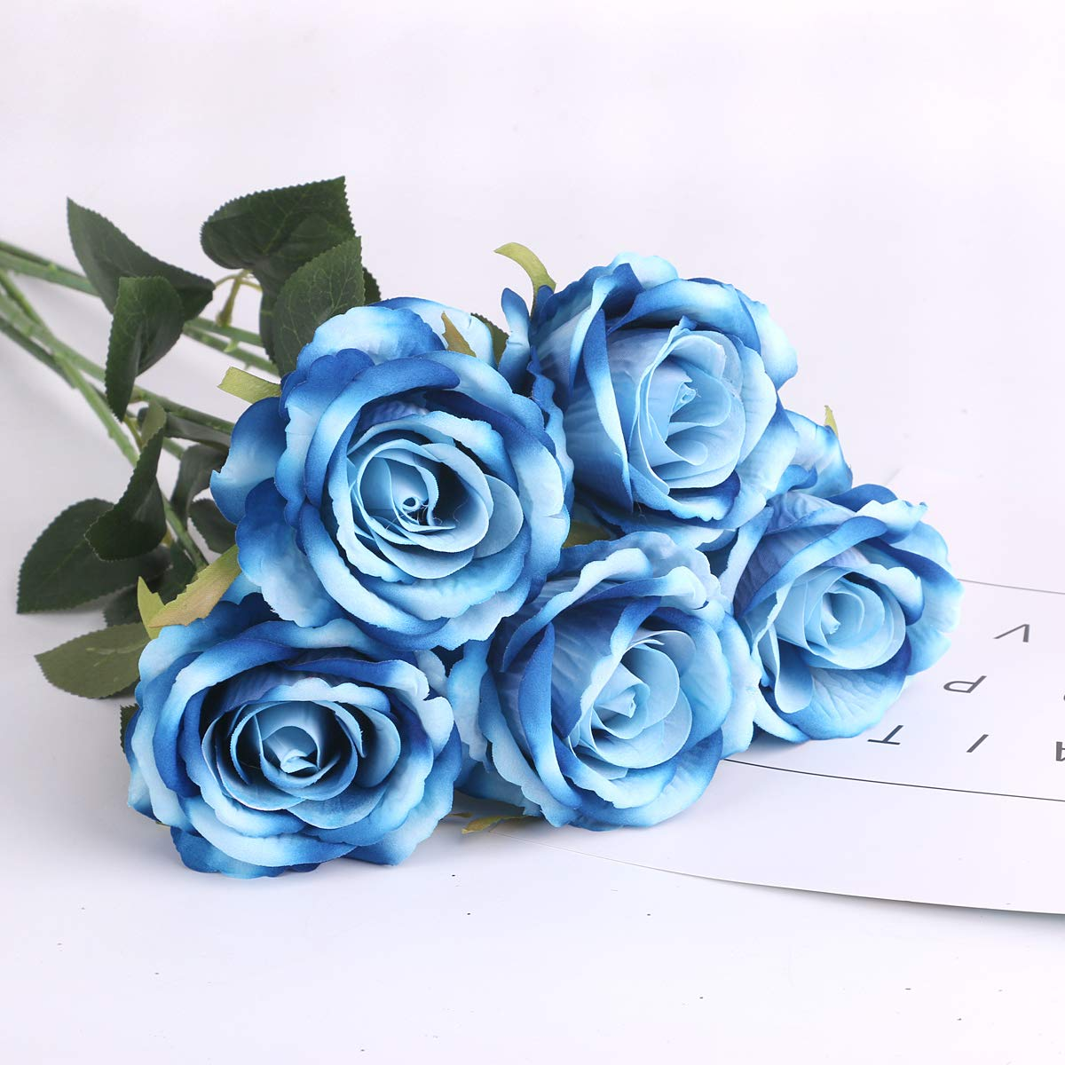 Louiesya-Artificial-Flowers-Fake-Flowers-Bouquet-Silk-Roses-Real-Touch-for-Home-Garden-Party-Floral-Decor-6-Pcs-Bridal-Wedding-BouquetBlue