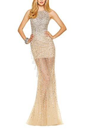 La Mariee Alluring Mermaid Tulle Sequins Evening Prom Dresses Cocktail Dresses-2-Champagne
