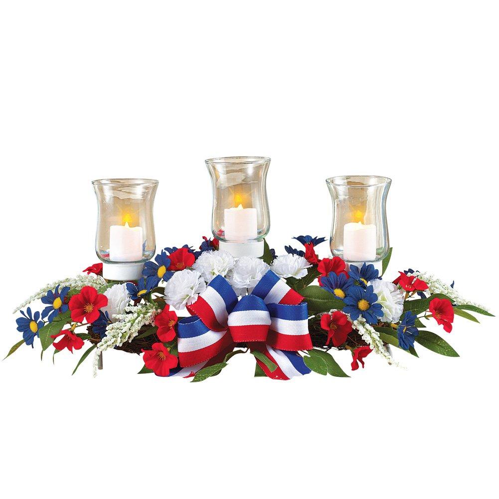 4th of July Candle Holder Floral Centerpiece, Patriotic Table Decoration
