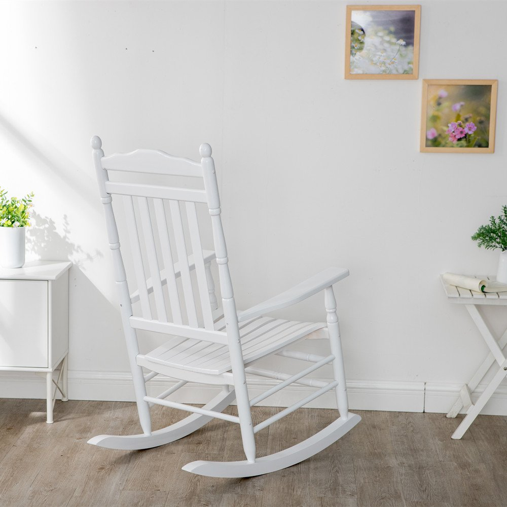 B&Z KD-22W Wooden Rocking chair Porch Rocker White Outdoor Traditional Indoor by B&Z (Image #3)