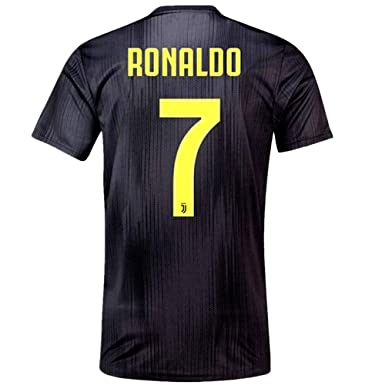 3aef7c077d0 binkafe 2018-2019 Juventus Cristiano Ronaldo  7 Away Soccer Jersey Mens  Black Size S
