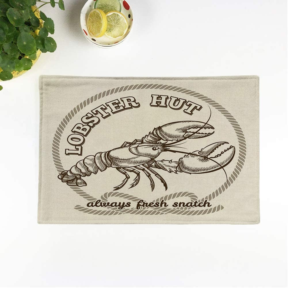 rouihot Set of 6 Placemats Vintage Seafood Restaurant Retro Emblem Dinner Fresh Lobster Food Non-Slip Doily Place Mat for Dining Kitchen Table