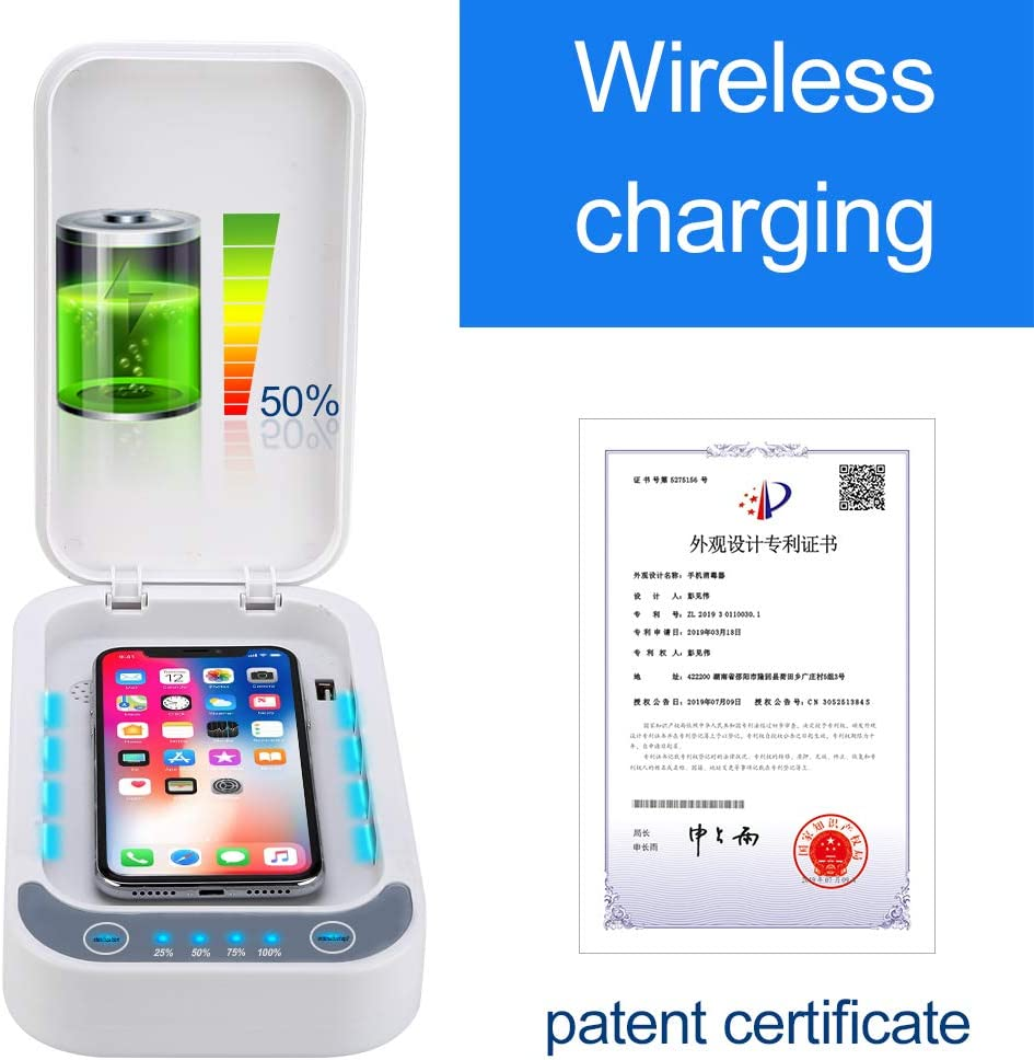 Phone Cleaner with USB Charging for iOS Android Mobile Phone Toothbrush Pacifier UV Cell Phone soap Sanitizer for iPhone soap Sterilizer Aromatherapy Function Disinfector