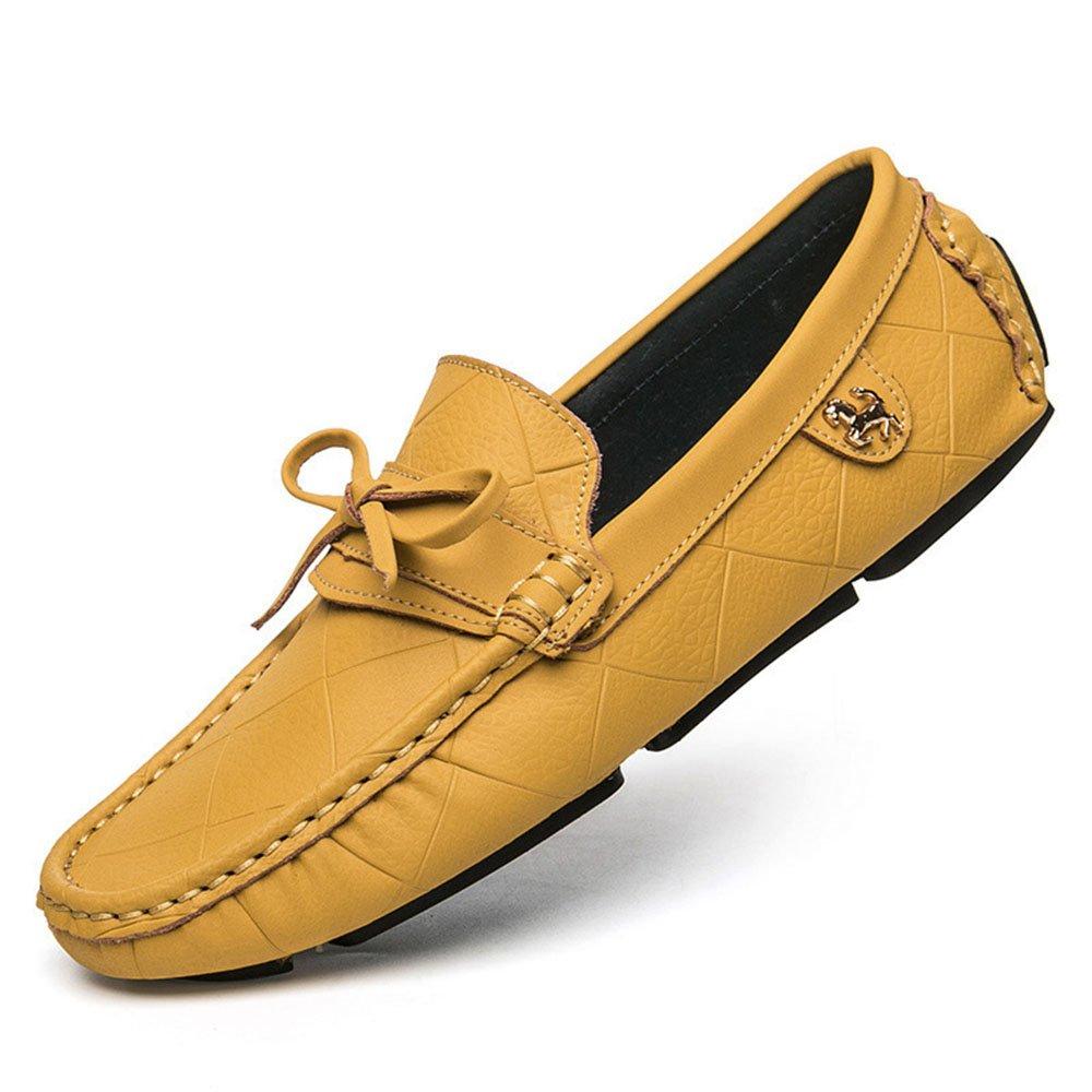Zapatos de Conducción de la Gorrita Tejida de Cuero de Cuero de Vaca de los Hombres Mocasín 39 1/3 EU Amarillo