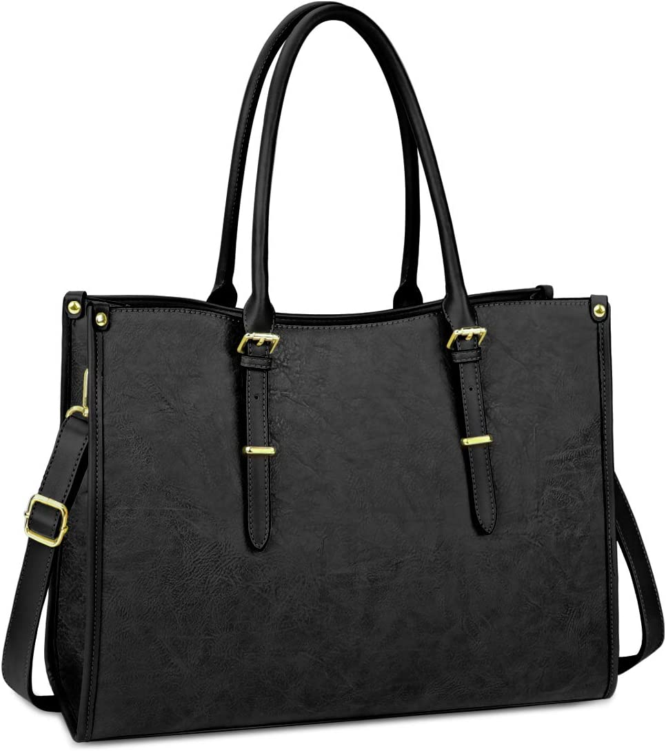 Laptop Bag for Women 15.6 Inch Waterproof Lightweight Leather Laptop Tote Bag Womens Professional Business Office Work Bag Briefcase Large Computer Bag Shoulder Handbag Black
