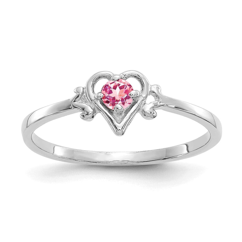 14K White Gold Pink Tourmaline October Stone Heart Ring Size 7