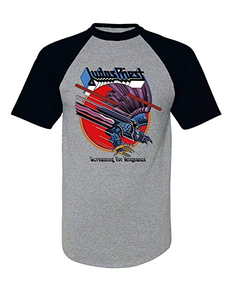 2ff005ac767 EmoBug Judas Priest Screaming for Vengeance SFV Logo Baseball Tee Raglan  Short Sleeve T Shirt Small