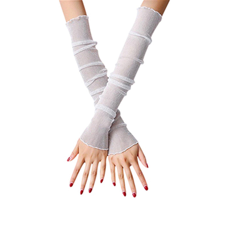Women Long Sleeve Sunscreen Cuffs Thin Summer Autumn Feamale Arm Sets Ice Silk Air Conditioning Arm Sleeves White