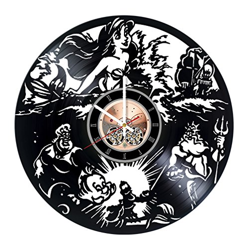 [Disney The Little Mermaid Vinyl Record Wall Clock - Get unique Kids room or Bedroom wall decor - Gift ideas for children, girls, sister, baby – Cartoon Unique Modern] (Little Mermaid Sister Costumes)