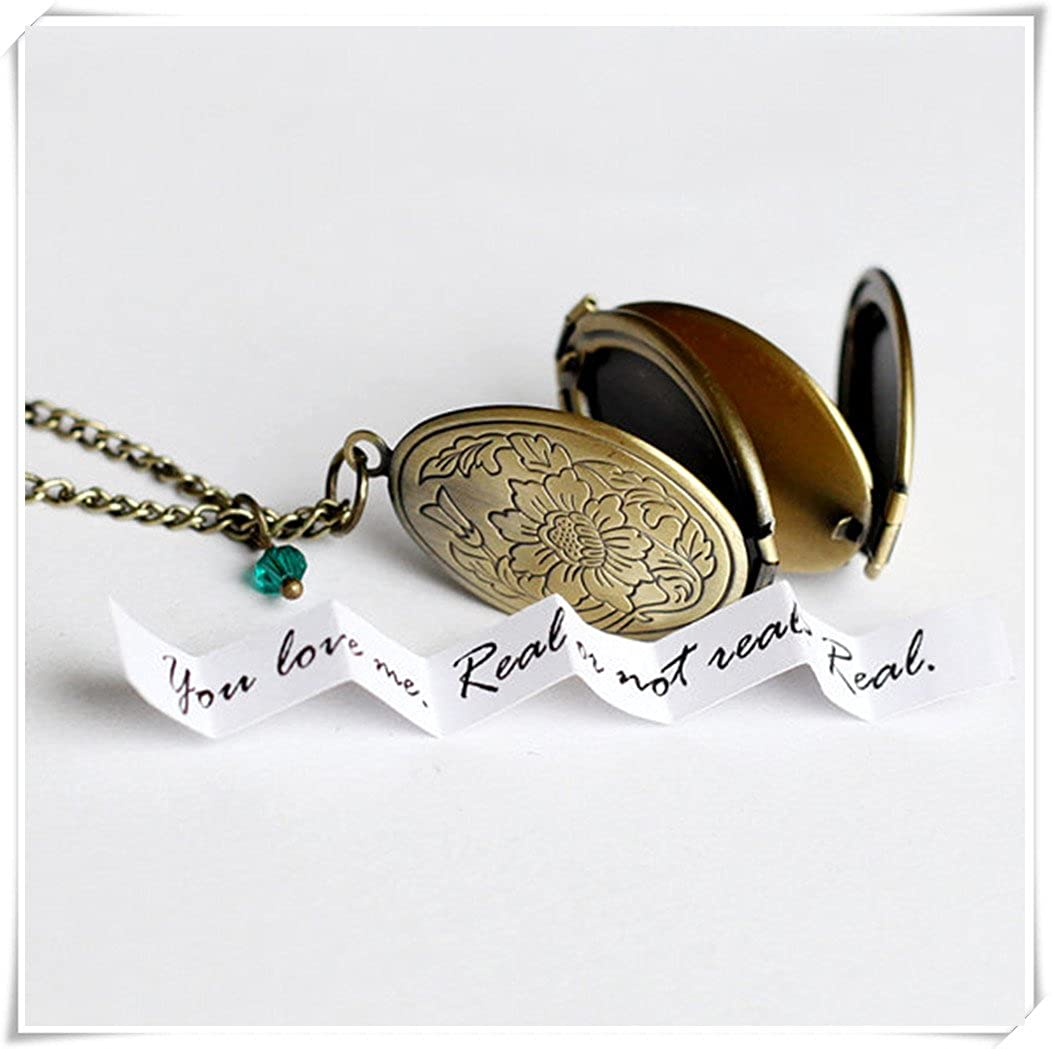 Photo locket necklace, secret message, vintage style four photo locket with birth stone necklace jewelry, can print cq2