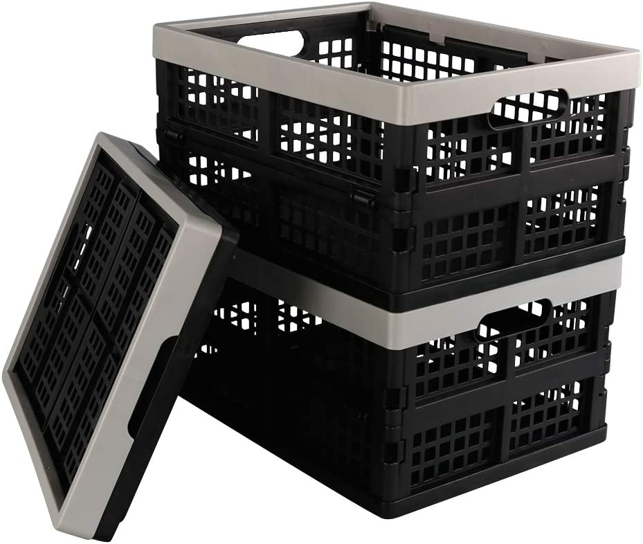 Vareone Cajas Cesta de Almacenamiento Plegables de Plástico, Color Gris y negro, 3 Unidades