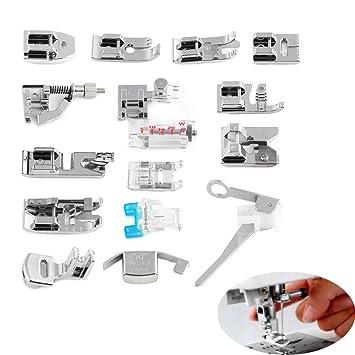 Para máquina de coser prensatelas pies Juego de herramientas, 15 piezas Universal pie pies Kit