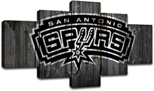 MIAUEN San Antonio Spurs Wall Art Posters Pictures Home Decor Canvas Prints 5 Piece Basketball Sports Decoration Paintings Ready to Hang(60''Wx32''H)