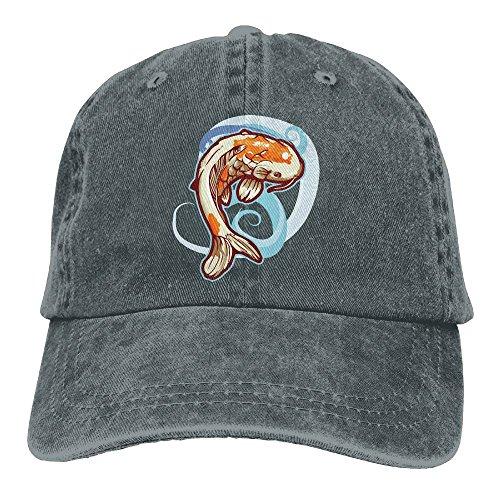 Qbeir Adult Cowboy Cap Hat Dancing Koi Fish Adjustable Cotton Denim Sunscreen Fishing Outdoors Retro Visor