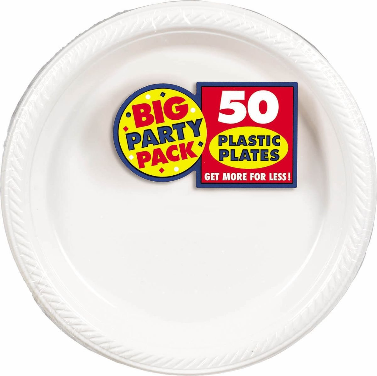 Amscan Big Party Pack 50 Count Plastic Lunch Plates, 10.5-Inch, White (630732.08)