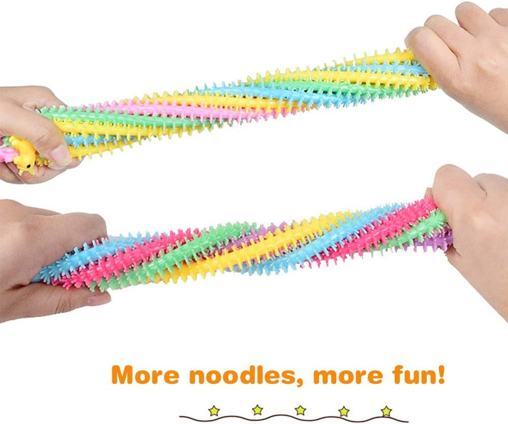 6 Pack. ZONESTA Stretchy String Toy Fidget Sensory Toys Build Resistance Squeeze Pull Noodles Unicorn New Version