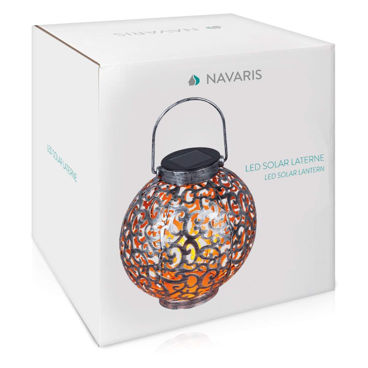 Esfera Plateada con asa Navaris Farol Solar de jard/ín Bola de jard/ín para Exteriores de 16CM con luz LED c/álida y Encendido autom/ático
