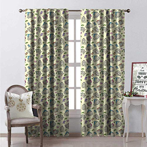 - Birdcage Room Darkening Wide Curtains Different Types of Antique Birdcages Green Leaves Hearts and Colorful Little Birds Decor Curtains by W84 x L108 Multicolor