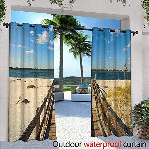 Outdoor South Bar Beach (BlountDecor Beach Patio Curtains Perdido Beach and Long Pier Deck Over Sand Gulf of Mexico South America Resort Theme Outdoor Curtain for Patio,Outdoor Patio Curtains W108 x L96 Cream Blue)