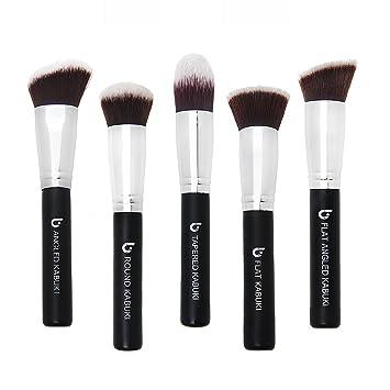 Kabuki Face Makeup Brush Set – Best 5 pc Large Face Brushes for Foundation, Blush