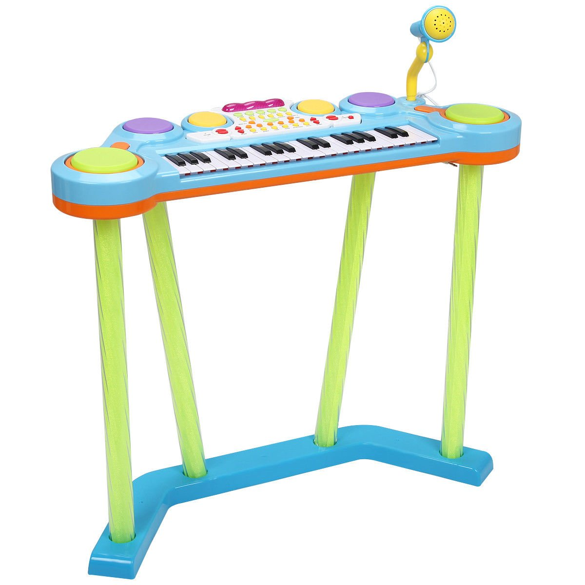 Costzon 2 In 1 Electronic Keyboard and Drum Musical 37-Key Toy Electronic Organ Piano and Drum with Microphone and Flashing Legs (Blue)