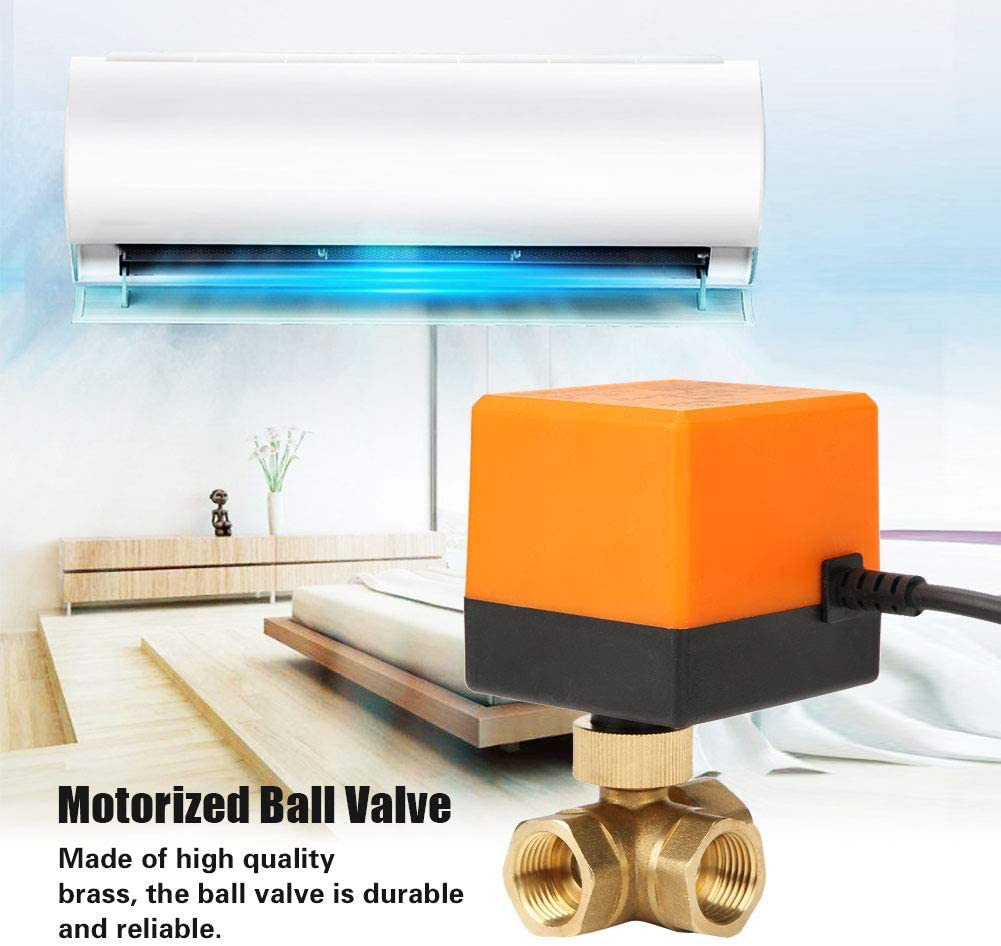CHUNSHENN Motorized Ball Valve Brass 3 Way Motorized Ball Electrical Valve DN15 G1//2 DC12V Ball Valve for Fan Coil Water Control System Indusrial Tools