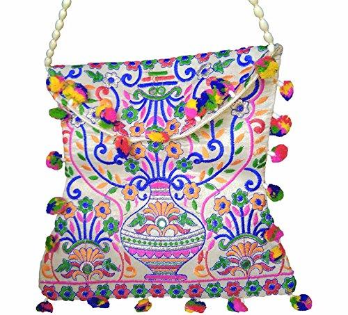 Handmade Embroidered traditional Design Banjara Tribal Creem Hand Bag