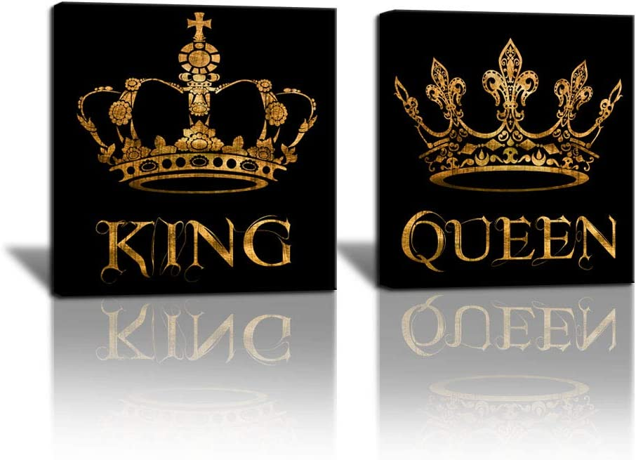 SkenoArt 2 Piece Black and Gold Canvas Wall Painting Golden King and Queen Crown Pictures Annivesary Wedding Gift for The Couple Romantic Couples Gifts for Bedroom Bathroom Home Decor 24