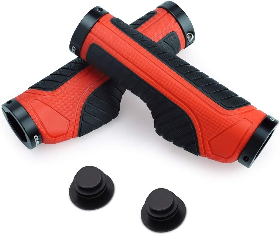 Ergonomic Designed Anti-Slip Rubber Bicycle Handle Grips with Screw Lock for Bicycle MTB XC FR Cyling 1 Pair Bike Handlebar Grip