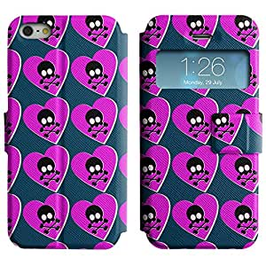 Be-Star Diseño Impreso Colorido Slim Casa Carcasa Funda Case PU Cuero - Stand Function para Apple iPhone 5 / 5S ( Heart And Skulls )