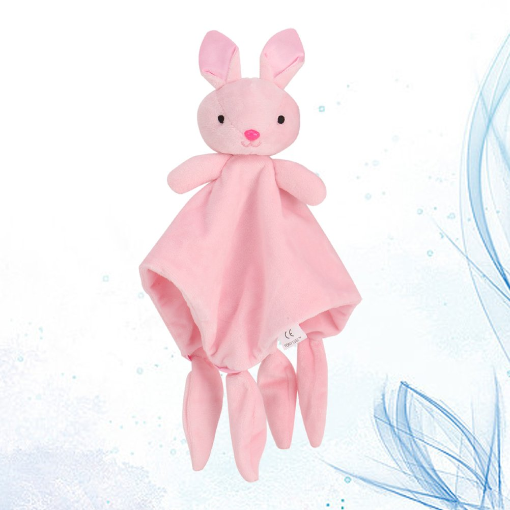 YeahiBaby Doudou Manta de Seguridad para Beb/és Mantitas de Arrullo Peluche Animal Conejo Rosa