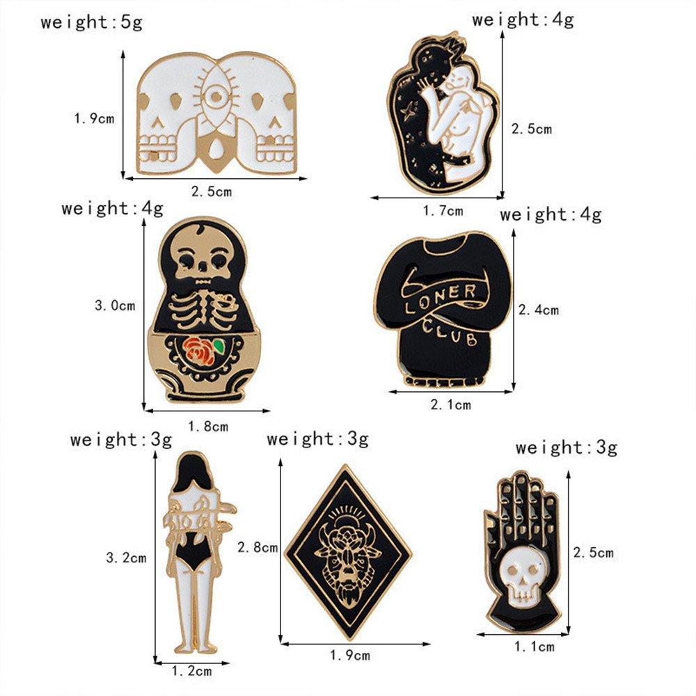 MJARTORIA 7 Pcs Creative Cartoon Mixed Pattern Brooch Set Novelty Enamel Collar Bag Lapel Pins