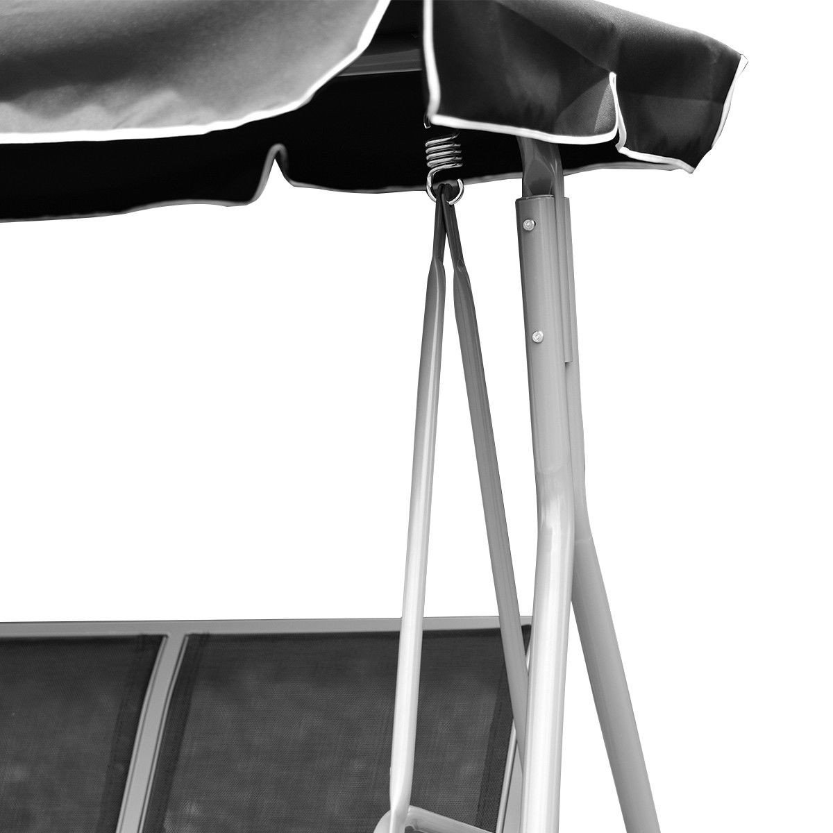 Dayanaprincess 3 Persons Patio Powder Finish Canopy Deck Swing Bench Heavy Duty Steel Construction Outside Chairs for Porch Garden Backyard Decor by Dayanaprincess (Image #7)
