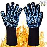 Beckool Heat Resistant Oven Gloves, Grill Gloves BBQ Accessories Oven Mittswith 932℉ Heat Resistance for Cooking, Grilling, Baking, Barbecue-Blue