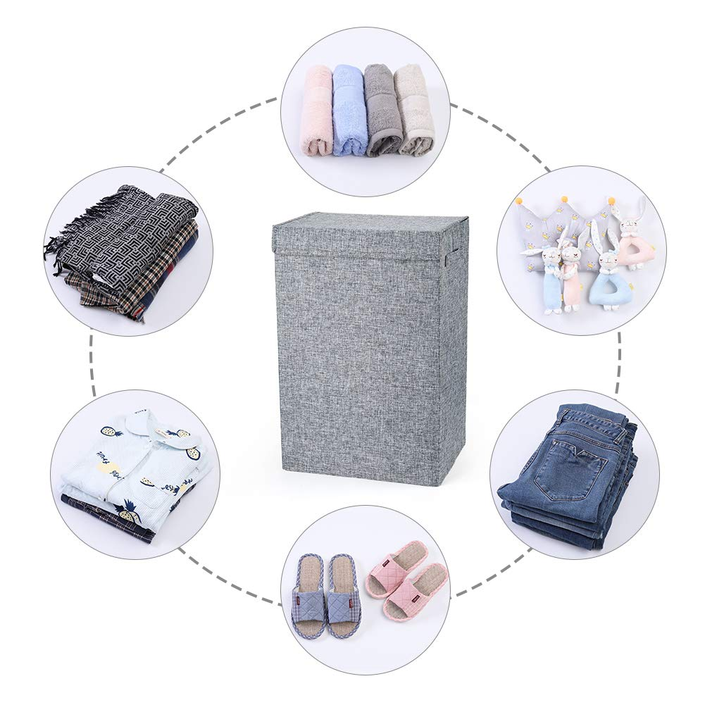 Hosroome Laundry Hampers with Lids Laundry Baskets with Handles Waterproof and Mildewproof Foldable Hamper Easily Transport Laundry,Beige