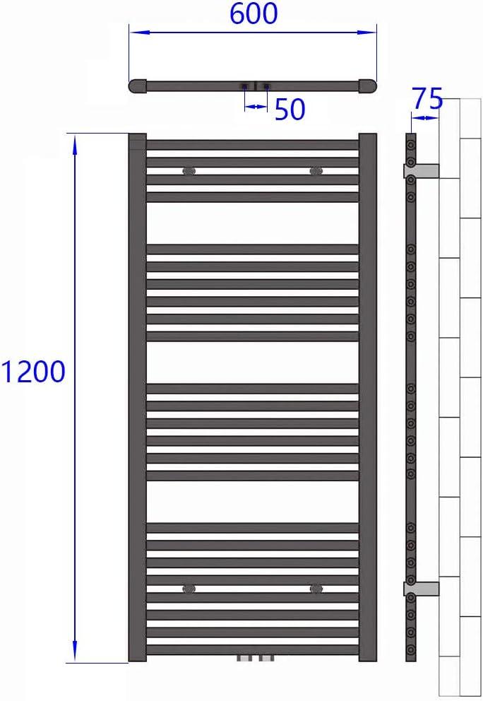 Badheizk/örper 1000x500mm Handtuchtrockner Heizk/örper 539 Watt Anthrazit Bad Mittelanschluss Handtuchw/ärmer Heizung Radiator