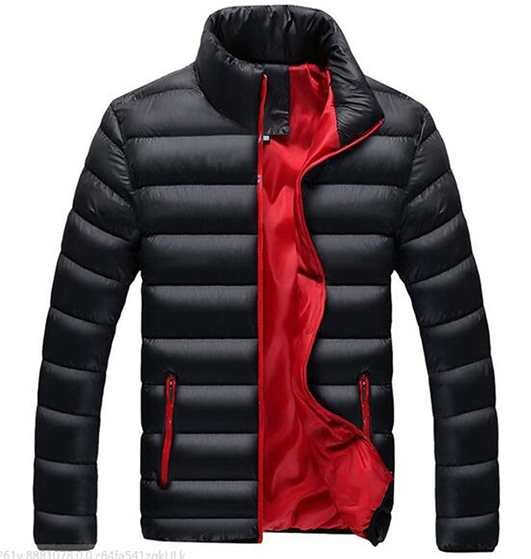 GRMO Men Fitted Thicken Zipper Thermal Ultra Stand Collar Packable Short Down Jacket