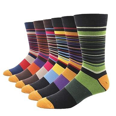 fe8736d4a Amazon.com  SOXART Men s Dress Socks Striped 6-Pack Multi Color Cute ...