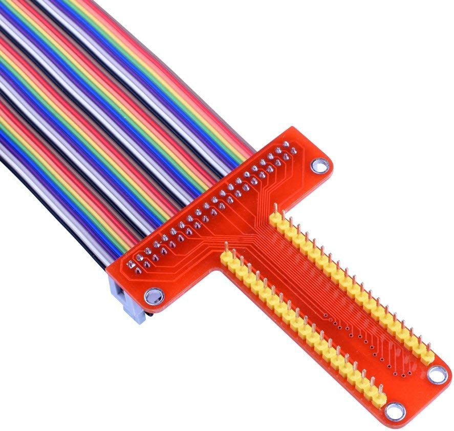GPIO T Type Expansion Board 830 MB-102 Tie Points Solderless Breadboard kuman for Raspberry Pi 4B 3B+ Kit 65pcs Jumper Cables Wires+ 40pin Rainbow Ribbon Cable+100pcs Resistance K73