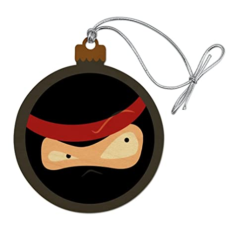 GRAPHICS & MORE Ninja Face Head Funny Wood Christmas Tree Holiday Ornament