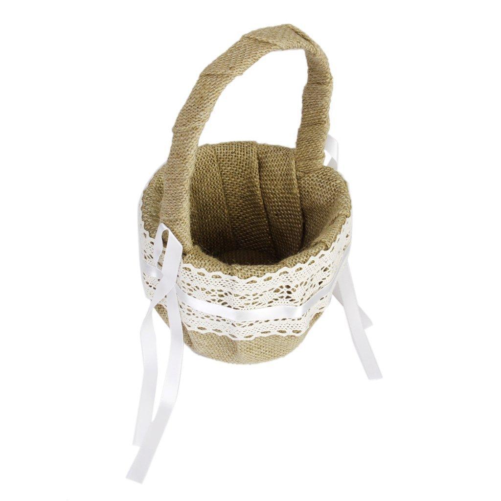 Amazon eamall wedding flower girl basket with vintage retro amazon eamall wedding flower girl basket with vintage retro lace bow decor wedding basket 1 home kitchen izmirmasajfo