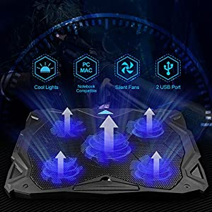 "Laptop Cooling Pad, TeckNet USB Powered Silent Gaming Laptop Notebook Cooler Cooling Pad Stand with 5 Fans and Blue LED Lights for Macbook Pro, Fits 12""-17"""