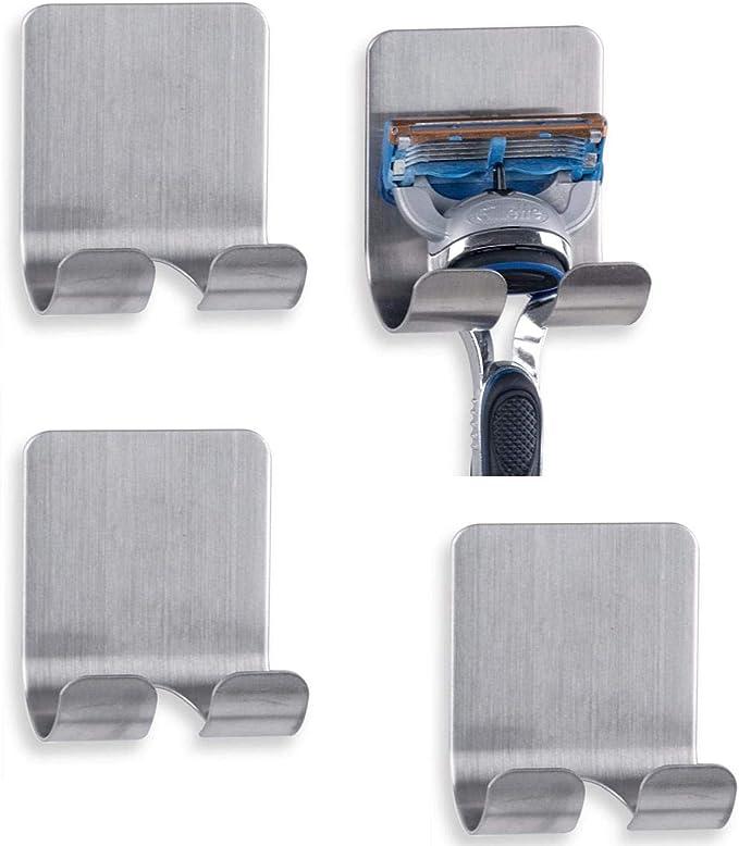 Stainless Steel Plug Hook Hanger Double Self Adhesive Practical Razor Horder