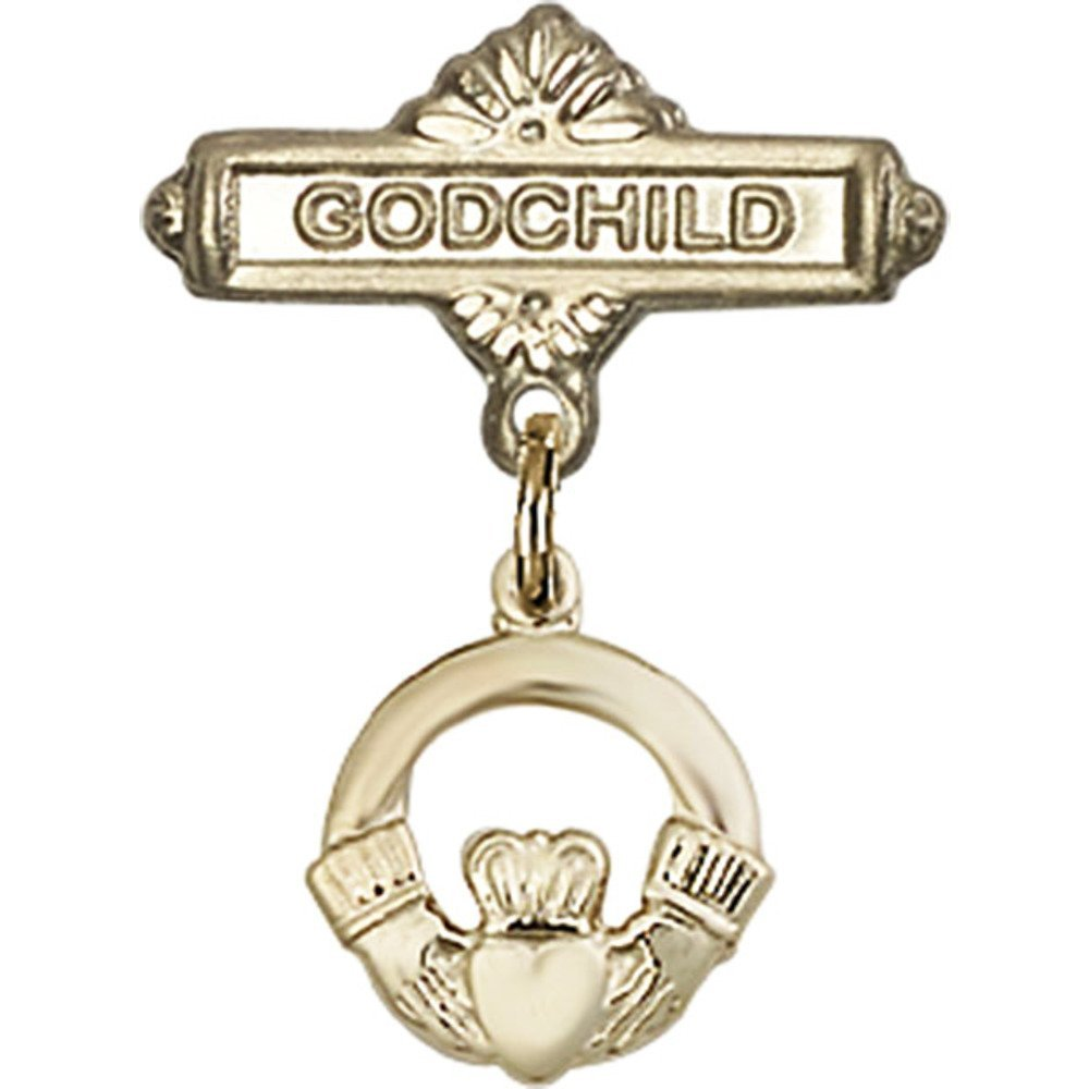 14kt Yellow Gold Baby Badge with Claddagh Charm and Godchild Badge Pin 7/8 X 5/8 inches by Unknown