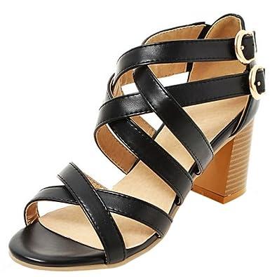 TAOFFEN Damen Elegant Criss Cross Double Schnalle Sandalen Blockabsatz Mid  Heel Shoes (34 EU,